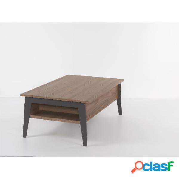 Tavolino rettangolare multifunzione con piano alzabile brighton si alza il top di 25 cm e lo sposta in avanti di 35 cm