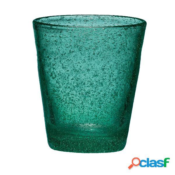 Bicchieri acqua tumbler drink 6 pezzi diametro 9xh10 cm - 300 cc in vetro soffiato adatto alla lavastoviglie colore ottanio