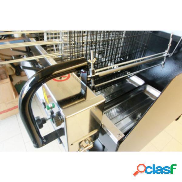 Piccolo spiedo motorizzato in acciaio inox alimentazione a batteria 12 v 150x150 cm - peso kg 2 carico sopportabile 4 kg