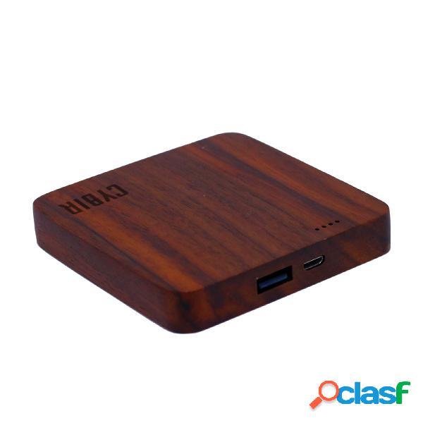 Batteria portatile per smartphone o tablet minicyb 7800 mah - 7,5x7,5xh2,2 cm mini wood