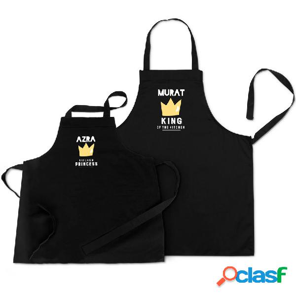 Set grembiuli da cucina - papà & bimbo - nero