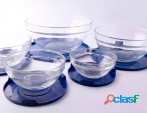 5 contenitori in vetro impilabili