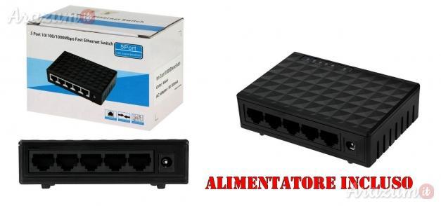 Switch ethernet 5 porte / 1000 mbps per rete lan