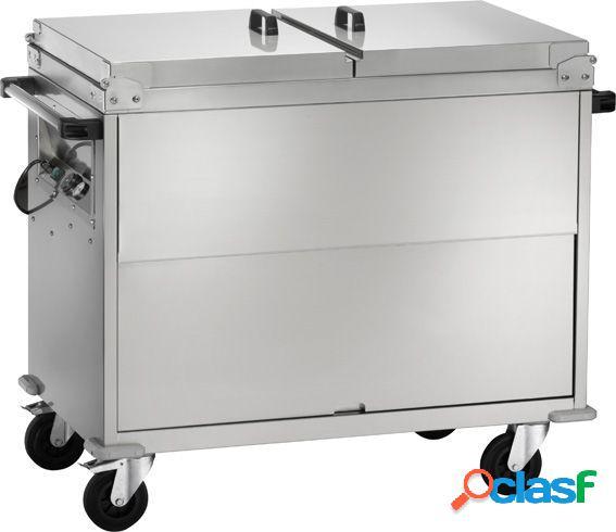 Carrello termico armadiato bagnomaria a temperatura differenziata per 2 bacinelle gn1/1 - l 960 mm x p 680 mm x h 1020 mm