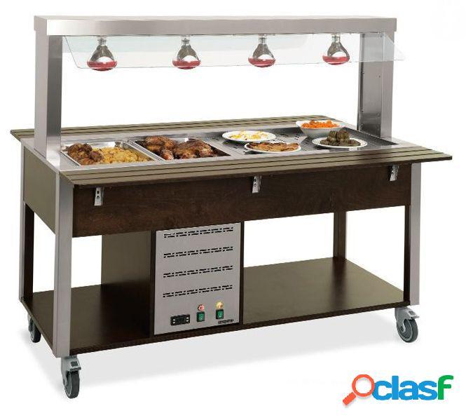 Carrello per buffet caldo con parafiato fisso temperatura + 65°c /+ 90°c