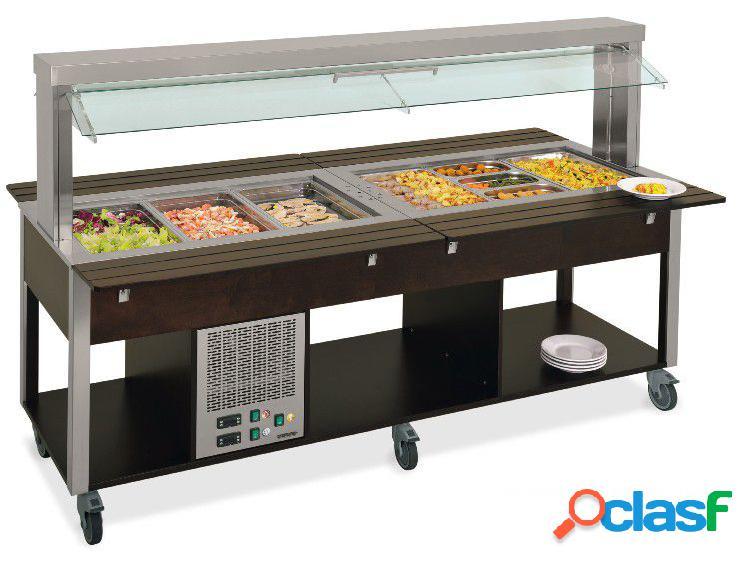 Carrello per buffet misto caldo/freddo temperatura + 4°c / 10°c (vani freddi) + 60°c /+ 90°c (vani caldi)