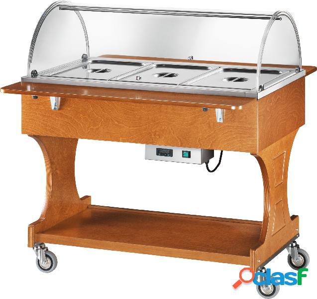 Espositore caldo bagnomaria in legno con cupola per 3 bacinelle gn1/1 e temperatura + 30°/ + 90°