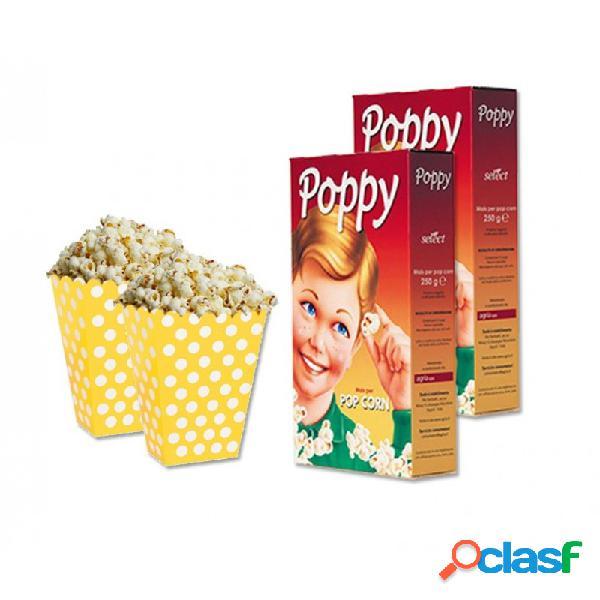 Scatoline box pop corn giallo pois 24 pz + 500gr mais pop corn