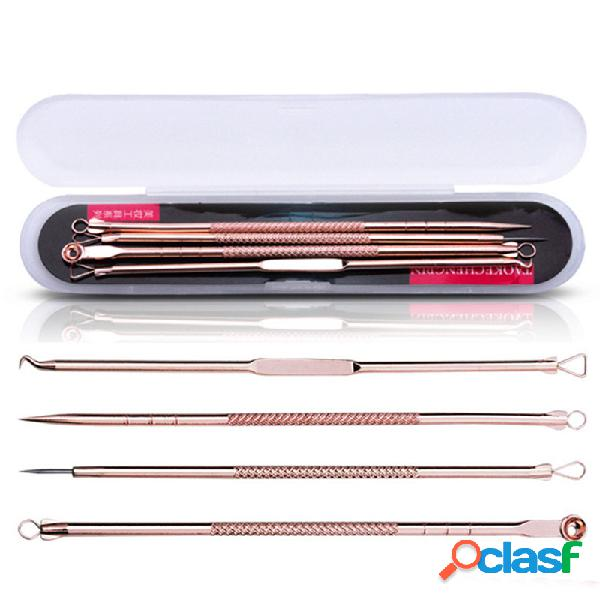 4 pezzi / kit oro rosa a doppia testa brufoli acne rimozione di comedone punte strumento di pulizia multiuso