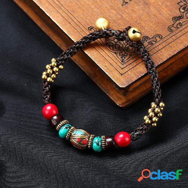 Originale etnico fatto a mano esotici nepalese braccialetto tallone cera cera songshi gioielli tibetani donne