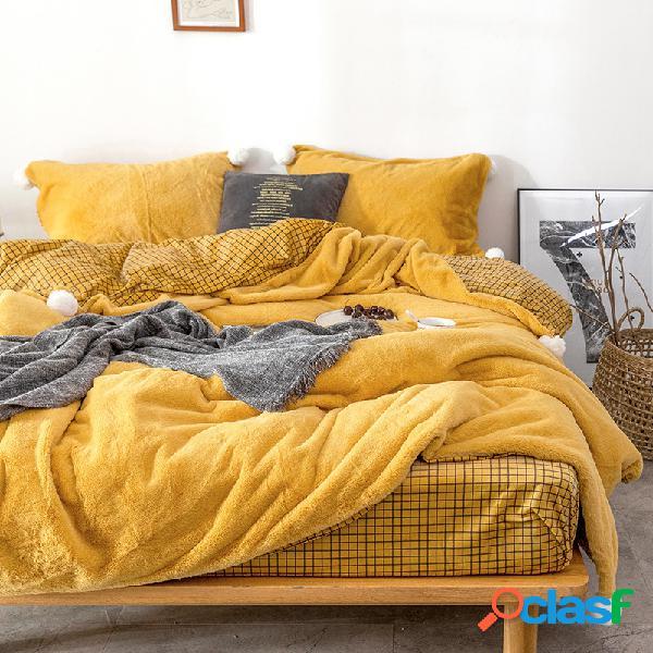 4 pezzi di biancheria da letto in peluche calda addensata set di biancheria da letto in stile a strisce reticolari federe con copripiumino extra king