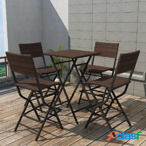 Vidaxl set da giardino 5 pz pieghevole in acciaio e polyrattan marrone
