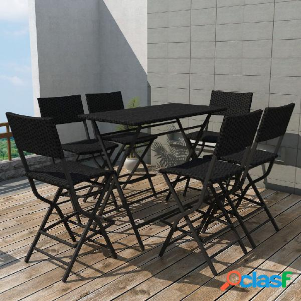 Vidaxl set da giardino 7 pz pieghevole in acciaio e polyrattan nero