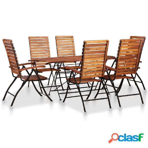 Vidaxl set da giardino 7 pz in legno massello d'acacia