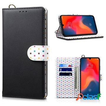 Retro polka dot xiaomi mi 9 wallet case - black