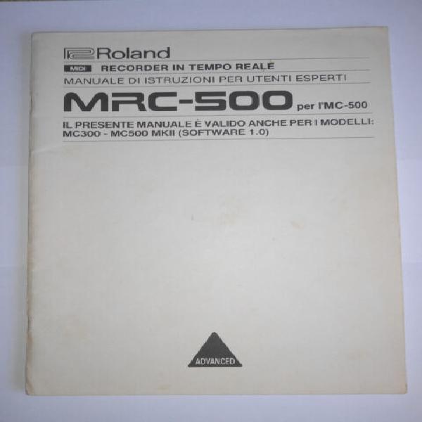 Manuale in italiano mrc-500 per roland mc300