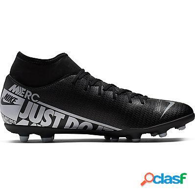 Nike scarpe calcio superfly 7 club fg/mg uomo black/mtlc cool grey-cool grey