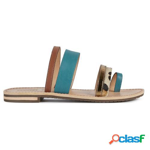 Geox sandalo sozy donna turquoise/brown