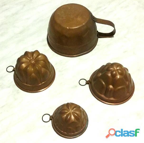 Lotto 4 stampi forme budino budiniera dolci rame vecchio vintage collezione