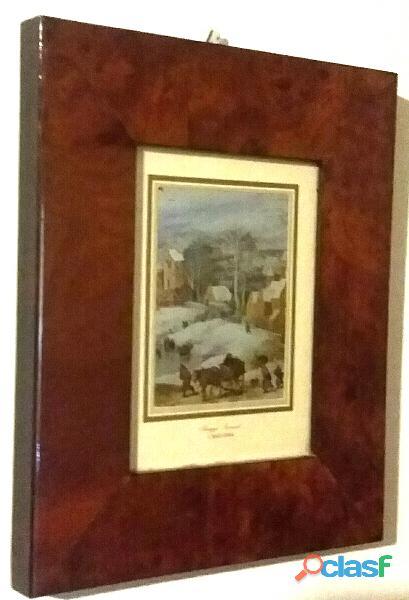 """""""Paesaggio invernale"""" di Jan Brueghel, litografia su alluminio cornice di radica"""