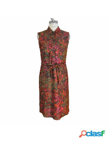 Sorelle fontana vestito vintage anni 60 floreale laminato lana rosso