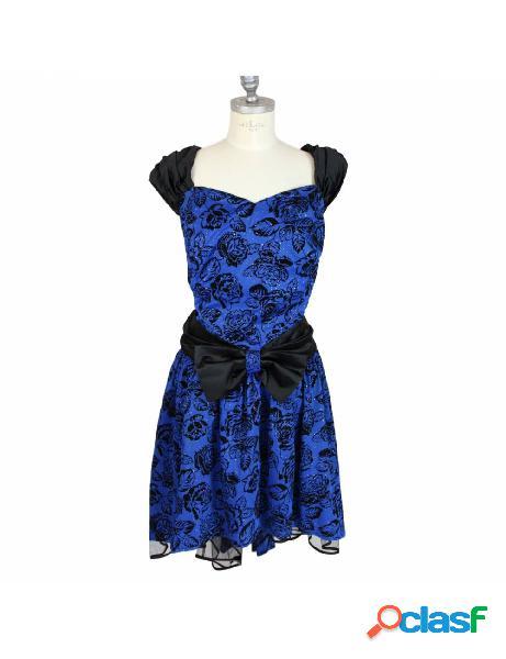 Vestito oversize vintage anni 80 sartoriale blu floreale da cerimonia