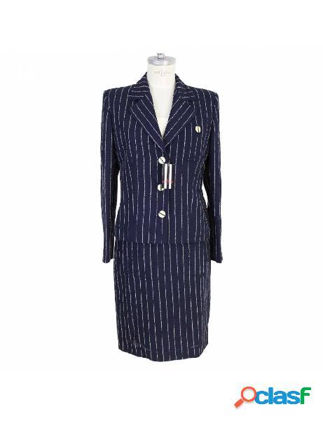 Valentino abito vintage completo giacca gonna gessato lana blu