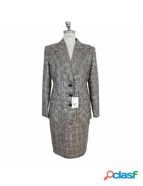 Valentino vestito vintage completo giacca gonna grigio principe di galles tg 42