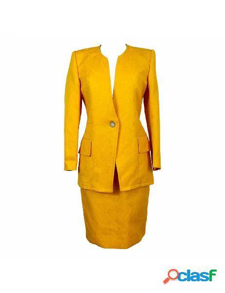 Vestito vintage anni 70 dani completo giacca gonna damascato cotone giallo