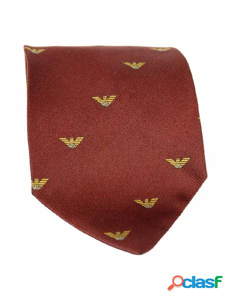 Armani cravatta vintage anni 90 monogram seta marrone