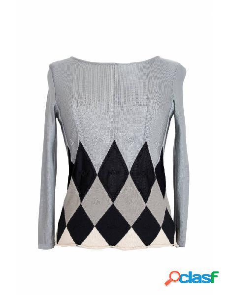 Emporio armani maglia vintage elegante sottogiacca traforata rombi grigia
