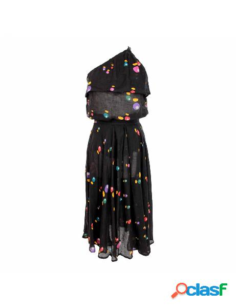 Issey miyake vestito vintage completo maglia gonna pois lino nero