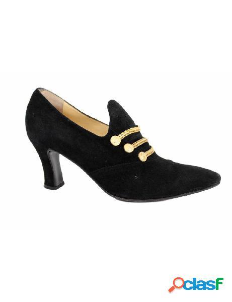 Sergio rossi scarpe vintage decollete eleganti pelle velluto nere oro