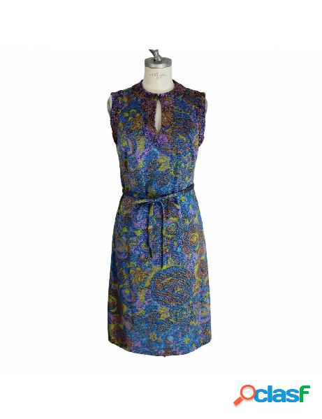 Sorelle fontana vestito vintage anni 60 laminato floreale blu