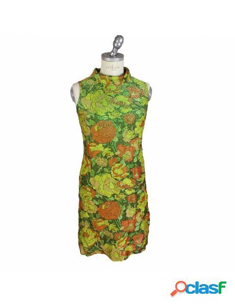 Vestito vintage anni 50 sartoriale in lamè floreale verde smanicato
