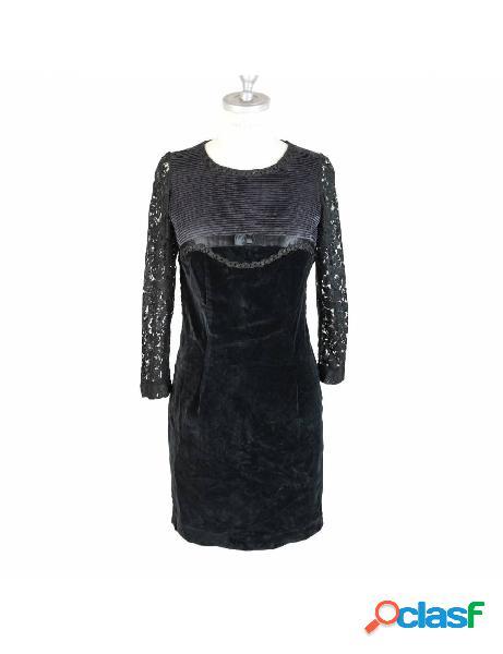 Vestito vintage anni 80 sartoriale da sera nero pizzo velluto