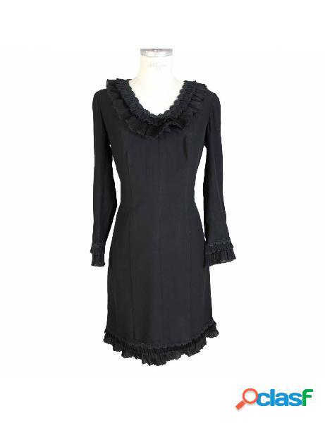 Vestito vintage anni 80 sartoriale nero da sera lungo