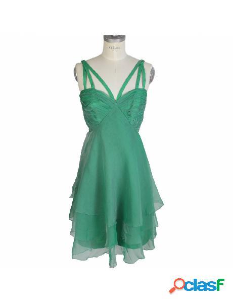 Vestito vintage anni 80 sartoriale seta chiffon verde cocktail party