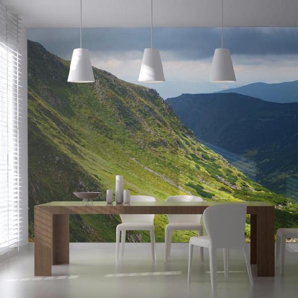 Fotomurale - green mountain landscape 550x270cm carta da