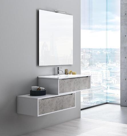 Mobile bagno sospeso 90 cm lavabo specchio e lampada a led