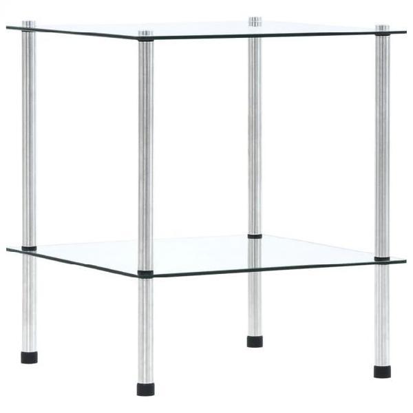 Vidaxl scaffale a 2 livelli trasparente 40x40x47cm in vetro