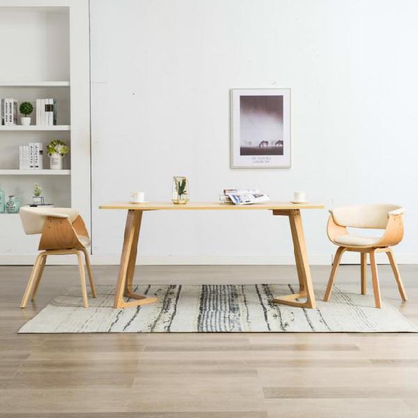 Vidaxl sedie da pranzo 2 pz crema in legno piegato e