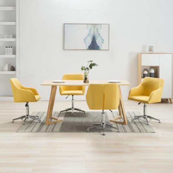 Vidaxl sedie da pranzo girevoli 4 pz gialle in tessuto