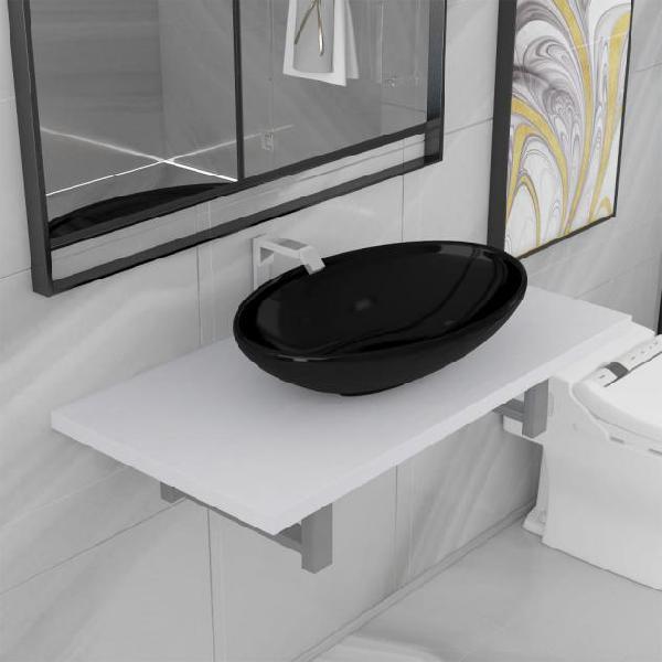 Vidaxl set mobili da bagno 2 pz ceramica bianco