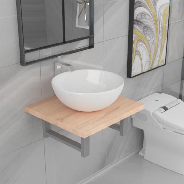 Vidaxl set mobili da bagno 2 pz ceramica rovere