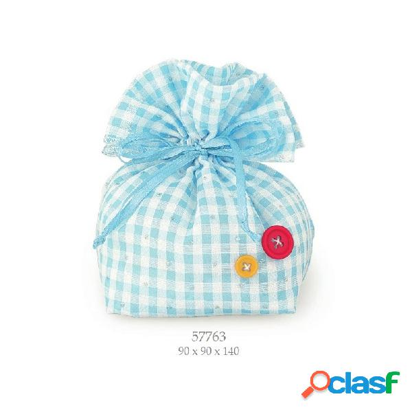 Sacchetti porta confetti grandi tondi quadretti azzurri 57763 pz 12
