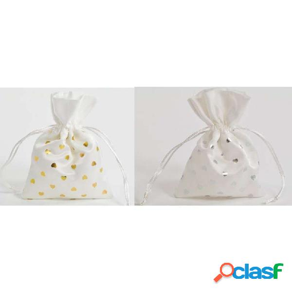 Sacchetti bianchi porta confetti - con cuoricini argento o oro