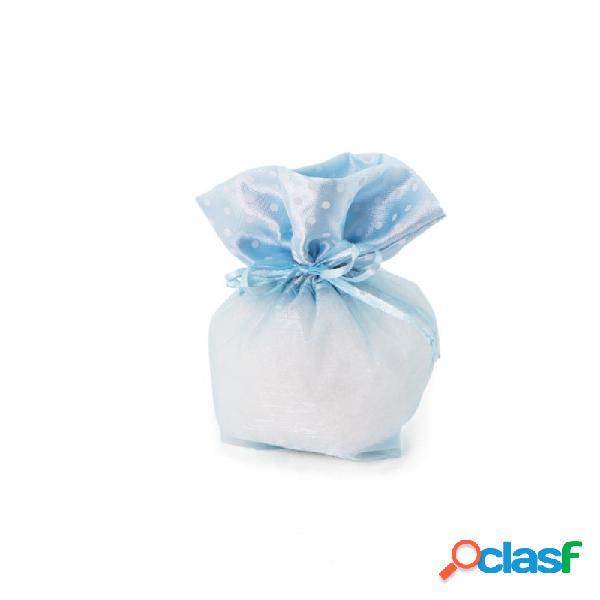 Sacchetti organza celesti bordo pois a1477/04 porta confetti 10 pz