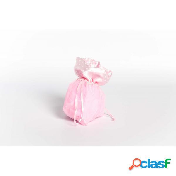 Sacchetti organza rosa bordo pois a1477/03 porta confetti 10 pz