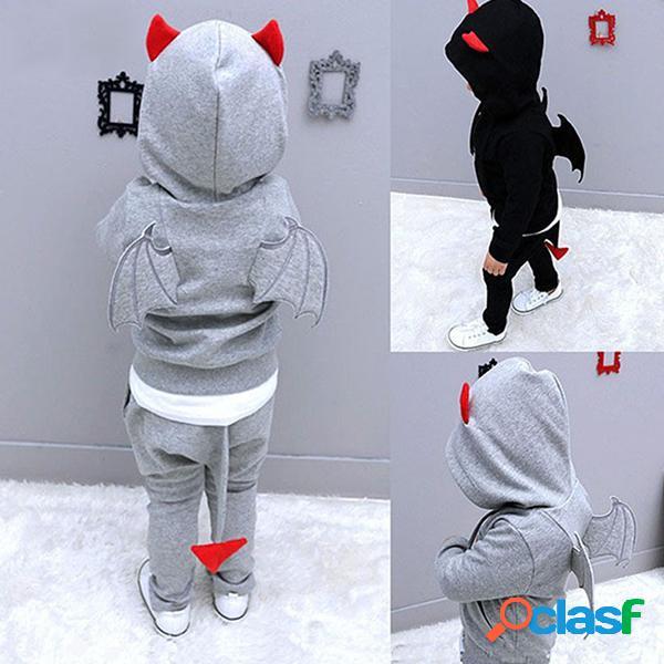Bambini casual completo con top a maniche lunghe con motivo di cartoon a piccolo diavolo costumi da halloween